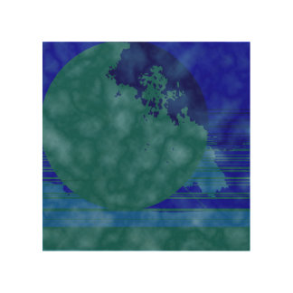 green and blue wood wall art