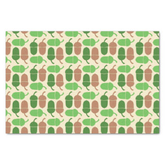 Green and Brown Acorn Pattern Tissue Paper
