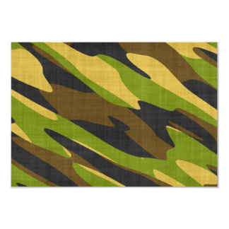 Green and Brown Army Camouflage 9 Cm X 13 Cm Invitation Card