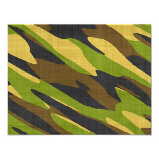 "Green and Brown Army Camouflage 4.25"" X 5.5"" Invitation Card"
