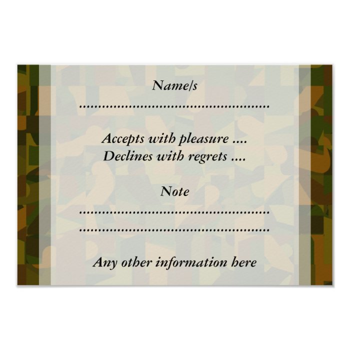 Green and Brown Camo, Abstract Pattern. 9 Cm X 13 Cm Invitation Card