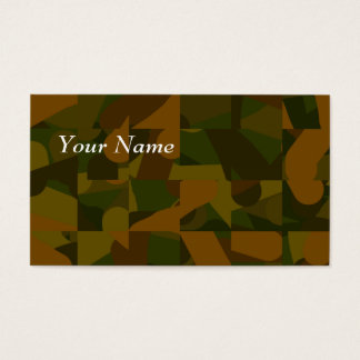 Green and Brown Camo, Abstract Pattern. Business Card