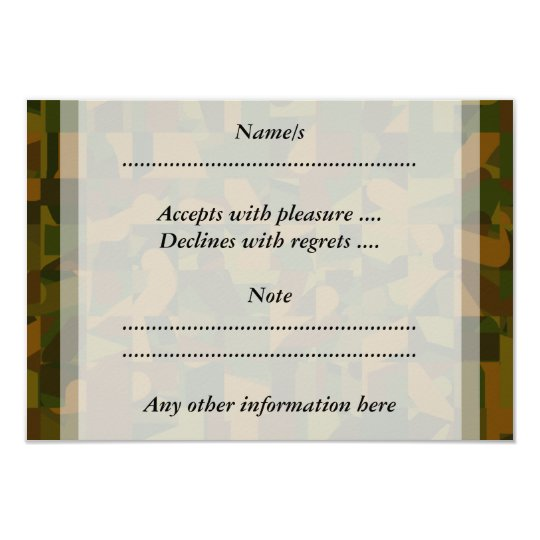 Green and Brown Camo, Abstract Pattern. Card