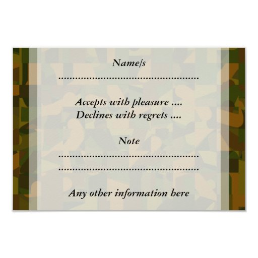 Green and Brown Camo, Abstract Pattern. Invite
