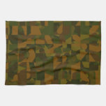 Green and Brown Camo, Abstract Pattern. Towel