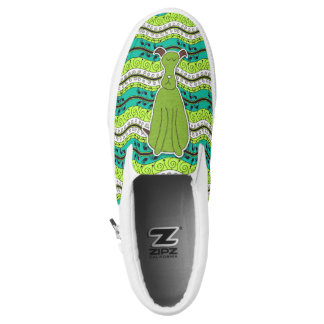 Green and Brown Cartoon Dog with Leafy Waves Slip-On Shoes