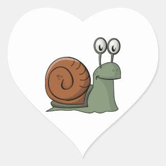 Green and Brown Cartoon Snail Heart Sticker