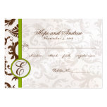 Green and Brown Damask Place Card Menu Selection Pack Of Chubby Business Cards