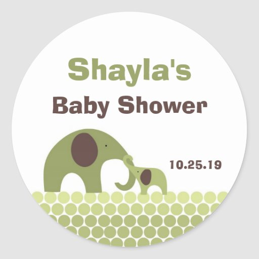 Green and Brown Elephant Mother Baby Favor Sticker