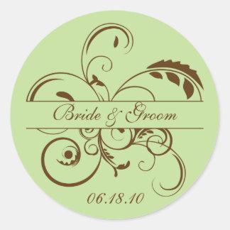 Green and Brown Flourish Monogram Sticker Label
