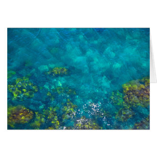 Green and Brown in the Aqua Blue Sea - Card