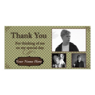 Green and Brown Plaid Photo Thank You Card Photo Greeting Card