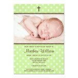 Green and Brown Polka Dot Cross Boy Photo Baptism Personalized Invitations