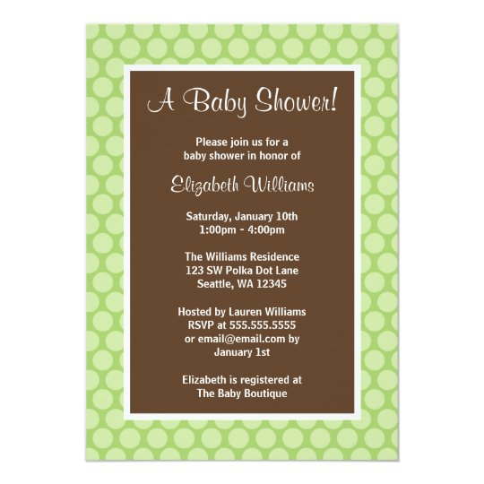 Green and Brown Polka Dots Baby Shower Invitations