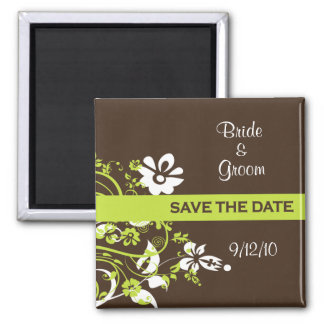 Green and Brown Save the Date Magnets