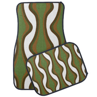Green and brown vertical waves floor mat