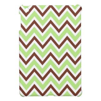 Green and brown zigzag chevron pattern trendy iPad mini cases