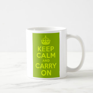 Green and Chartreuse Keep Calm and Carry On Basic White Mug