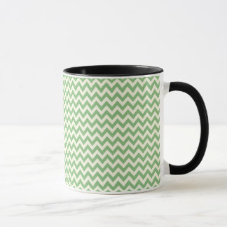 Green and Cream Chevron Patterned