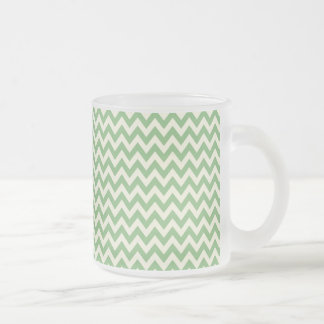Green and Cream Chevron Patterned Coffee Mug