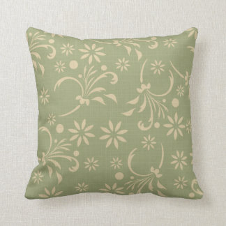 Green and Cream Flowers American MOJO Pillow