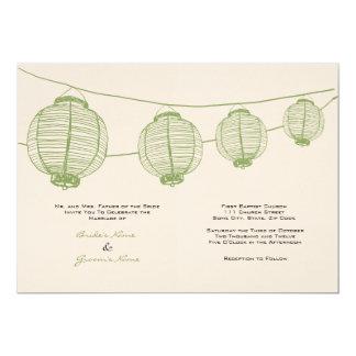 Green and Cream Lanterns Wedding Invitation