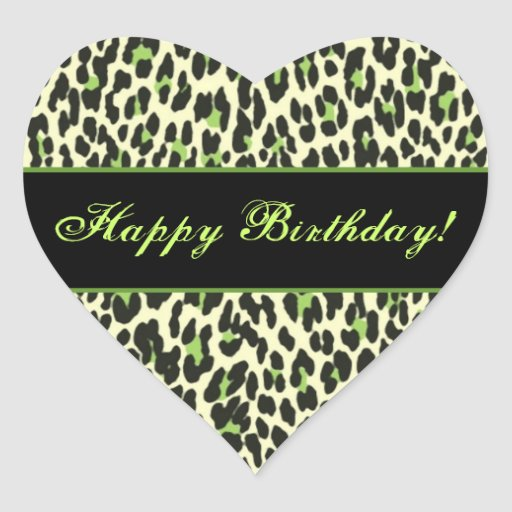 Green and Cream Leopard Happy Birthday Sticker