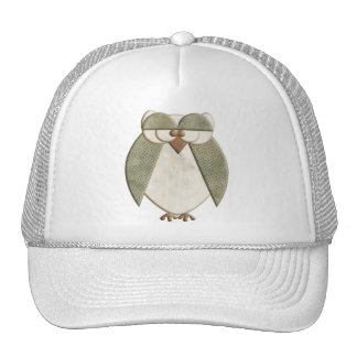 Green and Cream Owl Mesh Hat