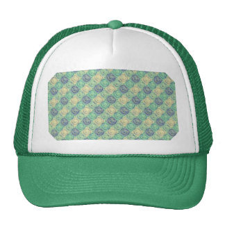 Green And Cream Vintage Embossed Pattern Mesh Hats