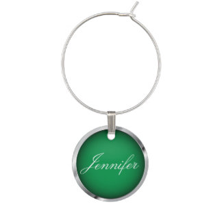 Green and Faux Metallic Chrome Trim | Personalize Wine Charm