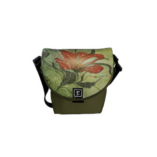 Green and Floral Rickshaw Mini Zero Messenger Bag
