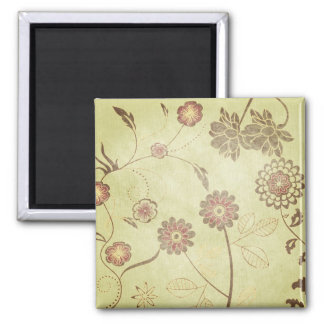 Green and Flowers Background Fridge Magnet