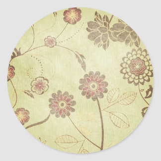 Green and Flowers Background Round Stickers