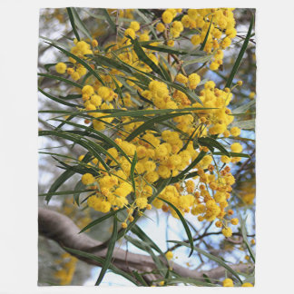 Green and gold Australian wattle blossoms Fleece Blanket