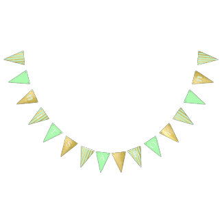 Green and Gold Baby Shower Welcome World Footprint Bunting