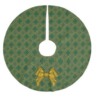 Green and Gold Brocade Look Christmas Tree Skirt Brushed Polyester Tree Skirt