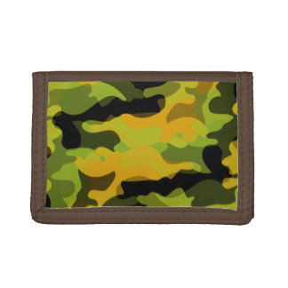 Green and Gold Camoflauge Tri-fold Wallet