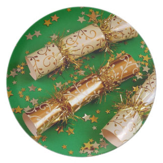 Green and gold christmas decoration plate