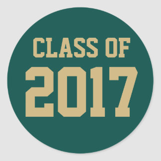 Green and Gold Class of 2017 Graduation Sticker