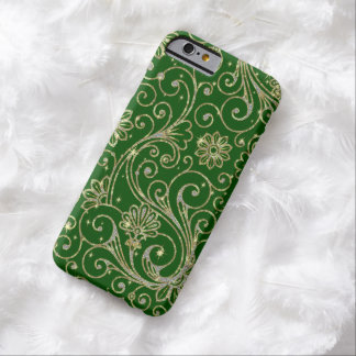 Green And Gold Floral Glitter & Sparkles Barely There iPhone 6 Case