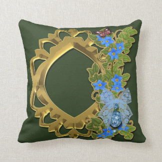 Green and Gold Floral Lace Design Throw Pillow