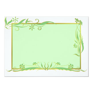 Green and gold floral ornament 13 cm x 18 cm invitation card