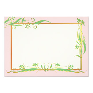 Green and gold floral ornament invite