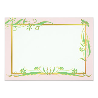 """Green and gold floral ornament 5"""" x 7"""" invitation card"""