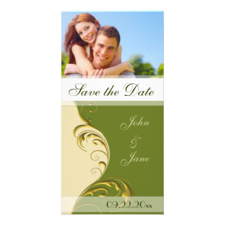 "Green and Gold Flourish /photo ""Save the Date"" Customized Photo Card"