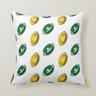 Green and Gold Football Pattern Throw Pillow