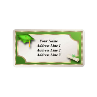 Green and Gold Grauation Address Labels