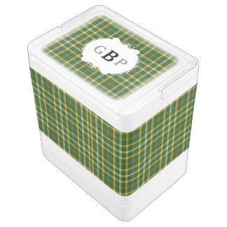 Green and Gold Green Bay Tartan Monogram Cooler