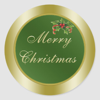 Green and Gold, Holly  Merry Christmas Round Sticker