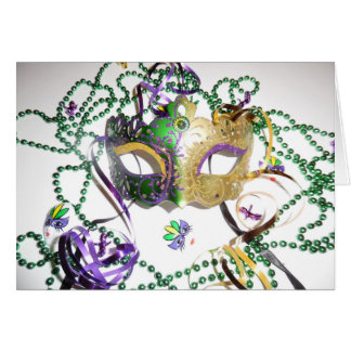 GREEN AND GOLD MARDI MASK CARD